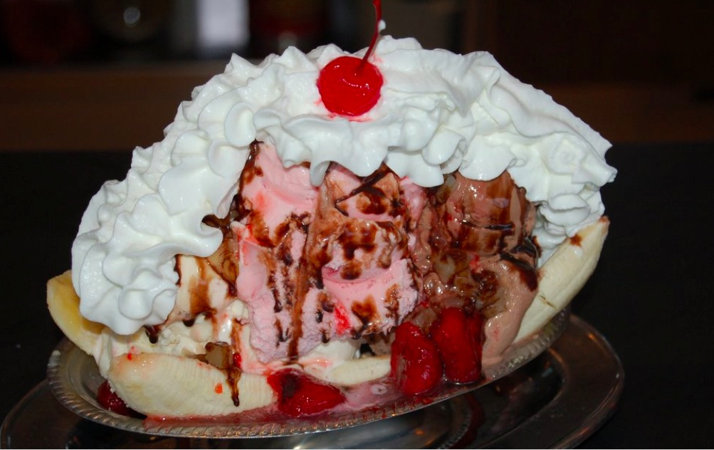 A traditional banana split as served in Cabot's Ice Cream and Restaurant in Newtonville, Massachusetts.