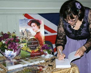 Carrie recently hosted a book launch tea party in honor of the release of The Governess of Highland Hall.