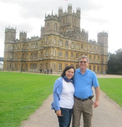 Carrie and Scott visited Highclere Castle where Downton Abbey is filmed last summer on a research trip.