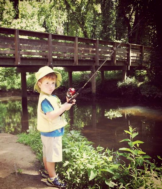 My grandson, the fisherman.