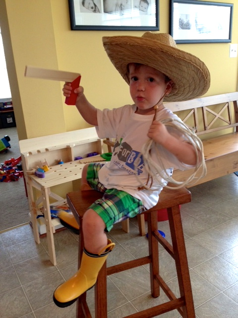 My grandson, the cowboy.